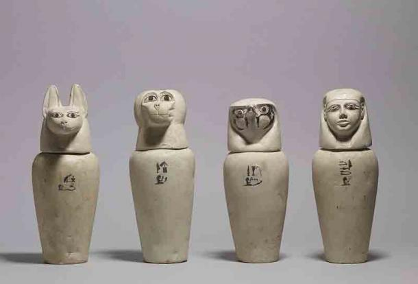 Canopic jars were used to store the internal organs of the deceased which were needed in the afterlife. Each represented a different deity with the head of a jackal, an ape, a hawk and a human. (Public domain)