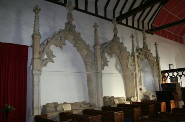Canopies inside St Mary's church holding effigies. There are nine in all belonging to the de la Beche family dating from 1278 to 1340.
