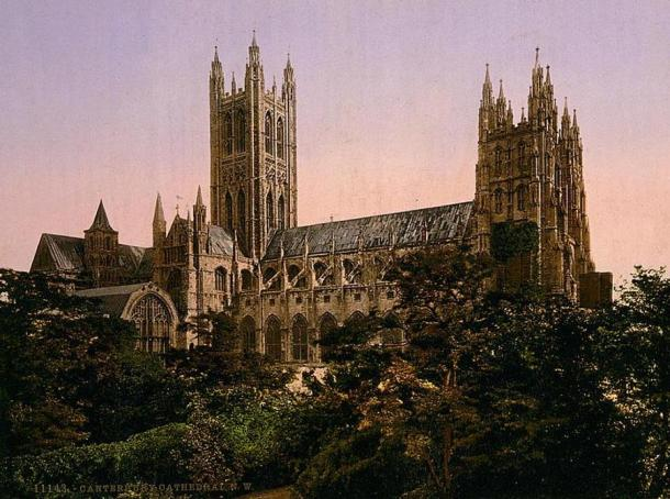 Canterbury Cathedral, pilgrimage site in Kent, England (view from the north west circa 1890–1900.) was founded in 597 AD.