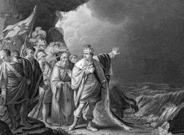 """""""Canute Reproving His Courtiers,"""" an etching by R.E. Pine, depicts a legend told about Canute that says he thought he could stop the tide from rising, but when he could not he hung his crown on a crucifix and never wore it again."""