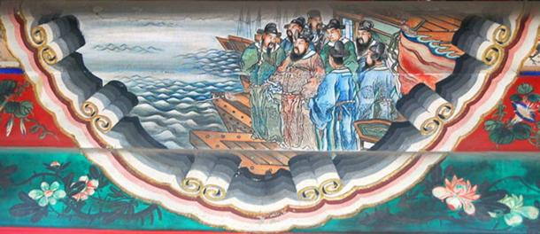 Cao Cao cites a poem before the Battle of Red Cliffs, portrait at the Long Corridor of the Summer Palace, Beijing