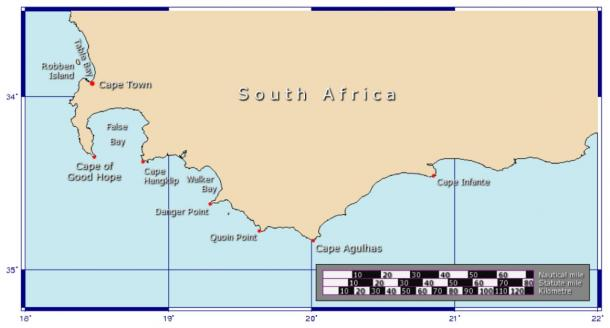 Map of the Cape of Good Hope and Cape Agulhas the southernmost point of Africa. (Johantheghost / CC BY-SA 3.0)