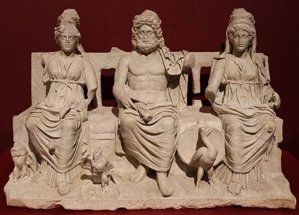Capitoline Triad of Juno, Jupiter, and Minerva.