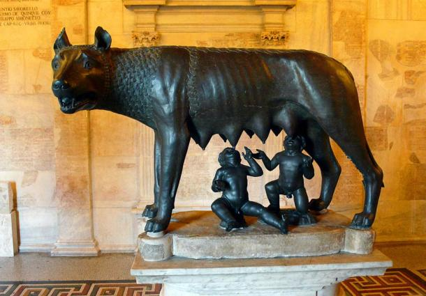 Sculpture of the Capitoline Wolf suckling Romulus and Remus. Musei Capitolini, Rome, Italy.