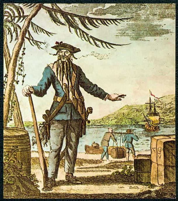 """Capt. Teach alias Black-Beard"" colored print, engraved on copper, Oliver Payne 1736"