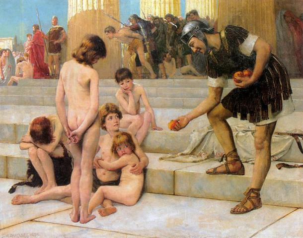 Captives in Rome by Charles Bartlett (1888)  (Public Domain).