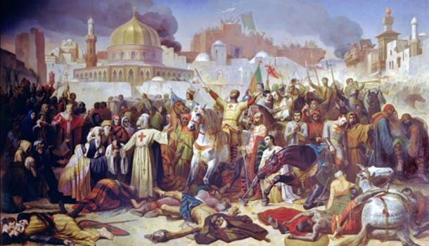 Capture of Jerusalem by the Crusaders.