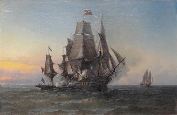 Capture of Triton by the privateer Hasard under Robert Surcouf. Leon Tremisot, 1808