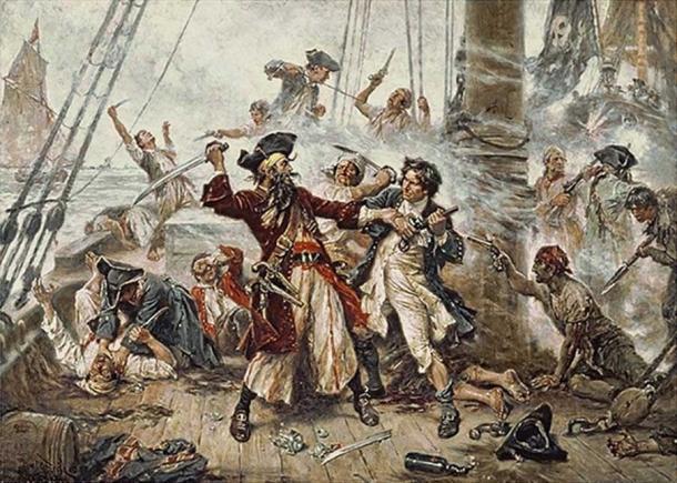Capture of the Pirate, Blackbeard, 1718 depicting the battle between Blackbeard the Pirate and Lieutenant Maynard in Ocracoke Bay (Jean Leon Gerome Ferris)