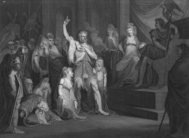 'Caractacus at the Tribunal of Claudius at Rome'. Engraving by Andrew Birrell of a painting by Henry Fuseli