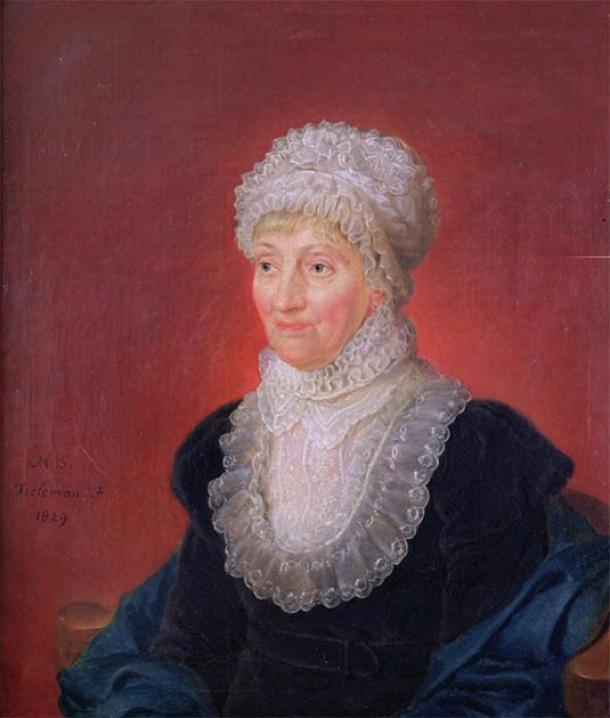 Caroline Herschel at 78, one year after winning the Gold Medal of the Royal Astronomical Society in 1828. (Bernd Schwabe in Hannover / Public Domain)