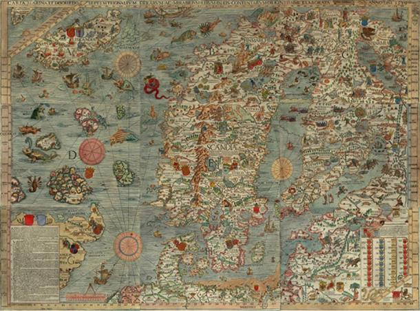 Carta Marina, drawn by Olaus Magnus in 1527-39. rrr  (Author Provided)