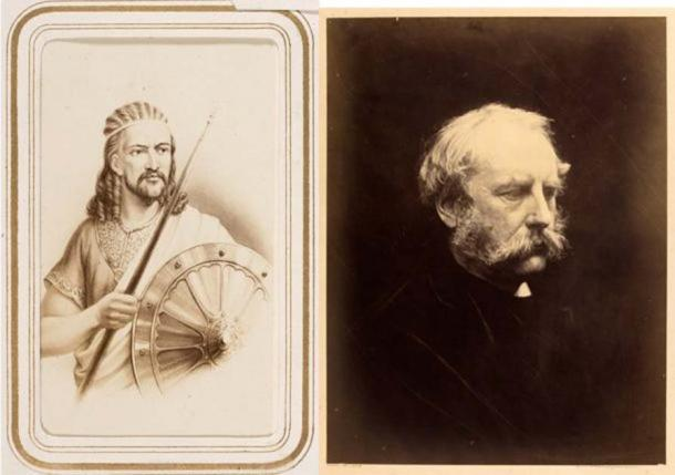 Left to right: Carte de visite depicting Emperor Tewodros II, 19th century. Museum no. 2894-1934. 'General Robert Cornelis Napier', photograph by Julia Margaret Cameron, 1868. Museum no. RPS.715-2017. (Victoria and Albert Museum, London)