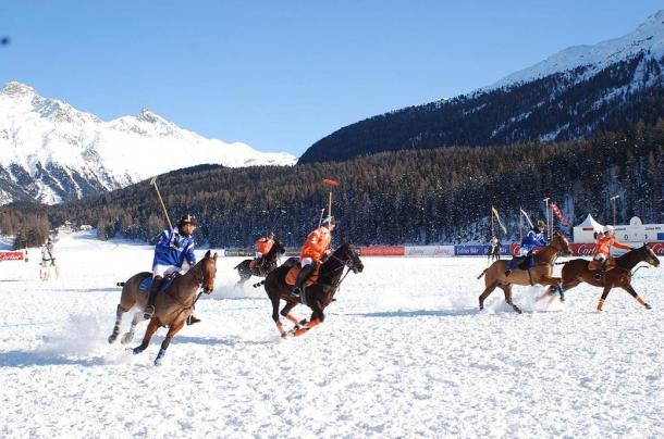 Polo has gone from a game played on huge dirt and grass fields in Asia in ancient times to a game played worldwide and, more recently, on fields of snow, in smaller arenas, on bicycles and in water with no horses. This is the Cartier Snow Polo Cup in Switzerland.