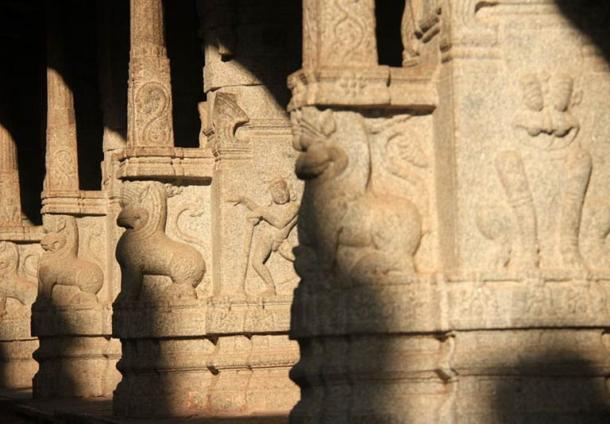 Carved animals and figures at the Virupaksha Temple