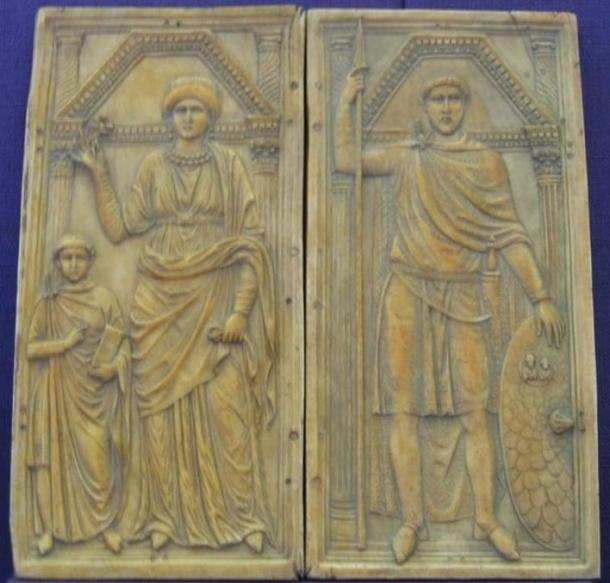 Carving of General Stilicho with his wife Serena and his son Eucherius.