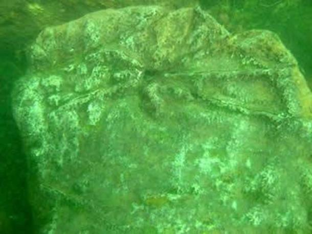 Carvings found on one of the stones in the underwater ruins in Fuxian Lake.
