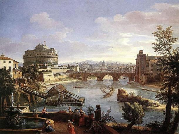 Painting of the Castel Sant' Angelo in Rome, Italy from the south.