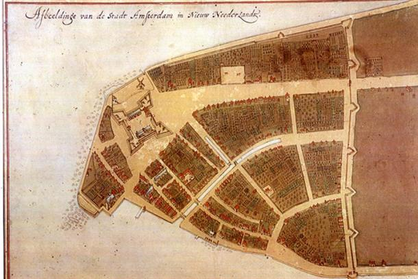 The Castello Plan showing the Dutch colonial city of New Amsterdam in 1660 – then confined to the southern tip of Manhattan Island.