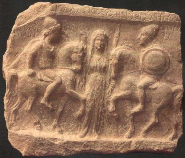 Castor and Pollox; Votive plate with Dioscuri and Artemis, found in Demir Kapija, Macedonia.