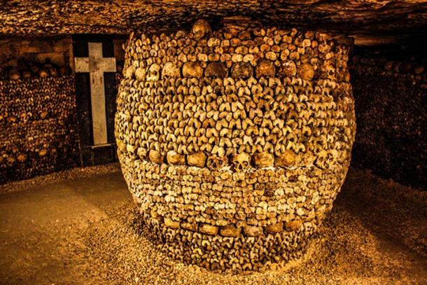 Remains in the Catacombs of Paris.