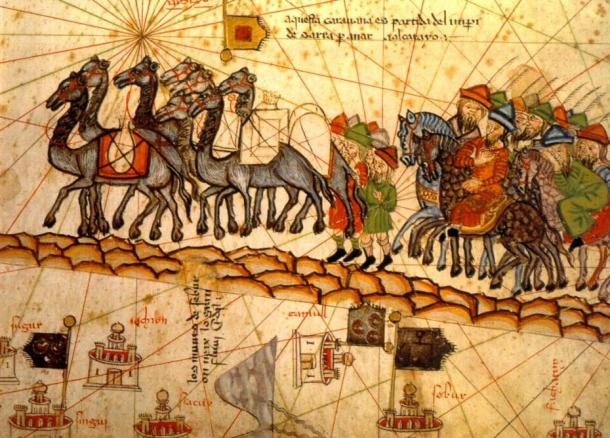 A Catalan caravan atlas of 1375; caravans carried frankincense from Africa to the Mideast, Europe and Asia