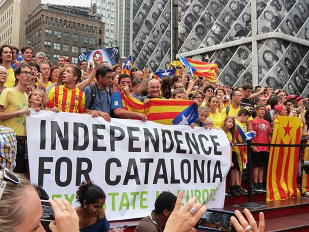 Catalan independence protest in Times Square, NYC