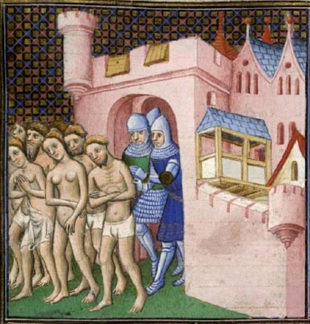 Cathars being expelled from Carcassonne in 1209. In this group, women appear to be nearly as numerous as men. (Poeticbent / Public Domain)