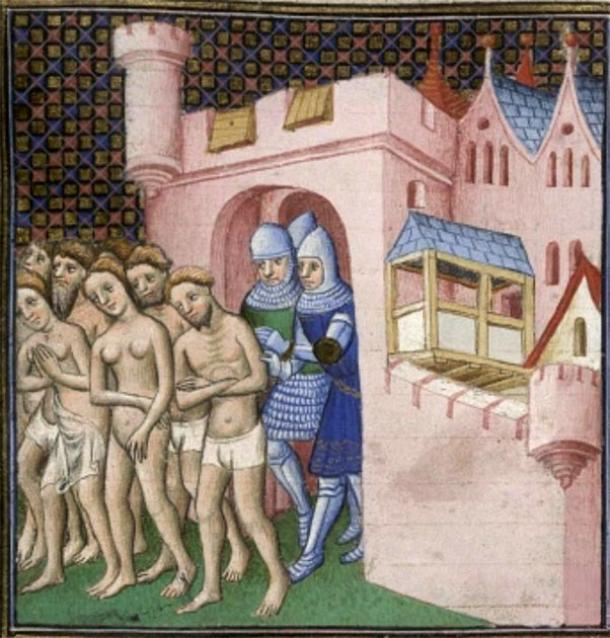 Cathars being expelled from Carcassonne in 1209. (Public domain)
