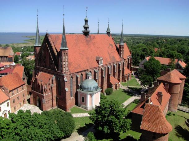 Frombork Cathedral, with Vistula Lagoon in background.
