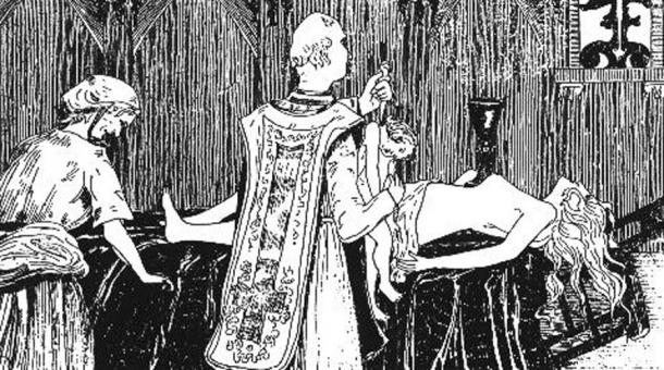 """Catherine Monvoisin and the priest Étienne Guibourg performing a """"Black Mass"""" for the mistress of King Louis XIV of France, Madame de Montespan (lying on the altar). (1895) By Henry de Malvost."""