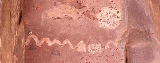 An example of a Cave painting at Palatki Heritage Site near Sedona, Arizona, USA depicting the position of the sun with respect to the facing rock formations at the various solstices.