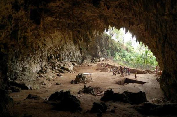 Cave where the remains of Homo floresiensis were discovered in 2004, Lian Bua, Flores, Indonesia.