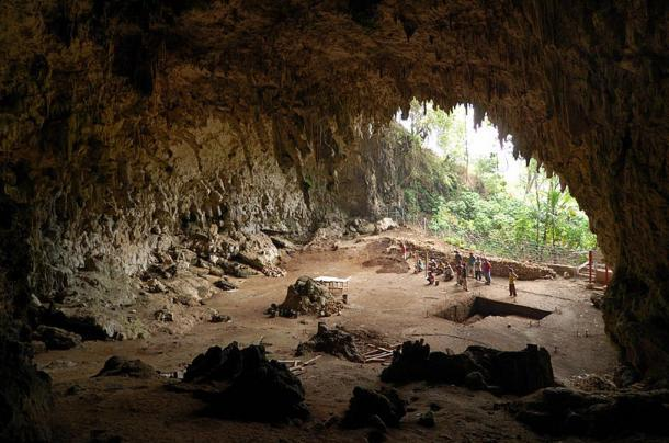 Cave where the remains of Homo floresiensis were discovered in 2003, Lian Bua, Flores, Indonesia.