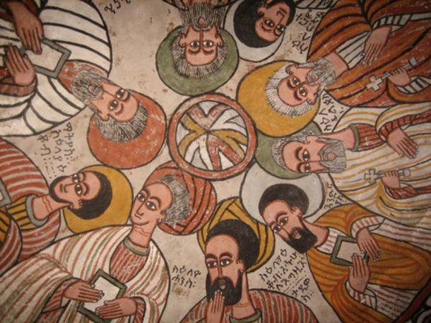 Ceiling Fresco at the cave Church of Abuna Yamata Guh