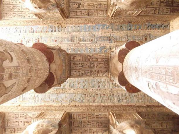 Ceiling of the Temple of Hathor at Dendera Temple complex, Dendera, Egypt.