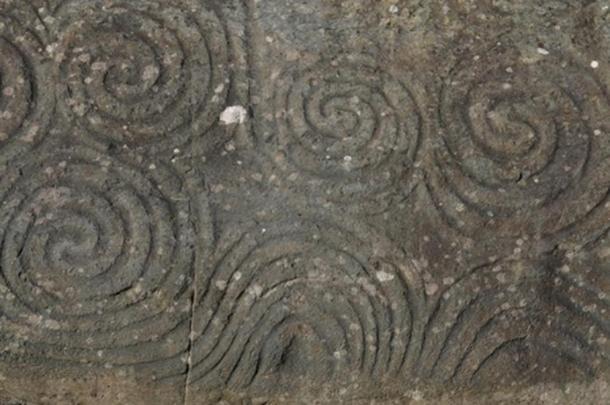 Celtic spiral on kerbstone. Newgrange, Near Kells - Co. Meath, Ireland.