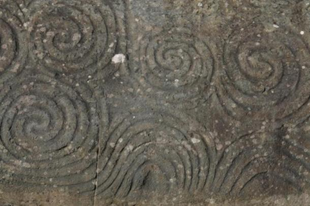Celtic spiral on kerbstone. Newgrange, Near Kells - Co. Meath, Ireland.