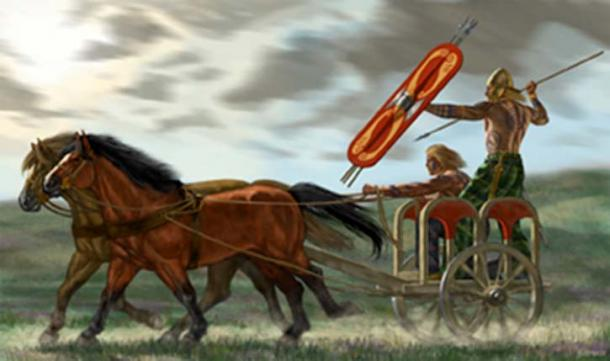 Celtic warriors riding a chariot