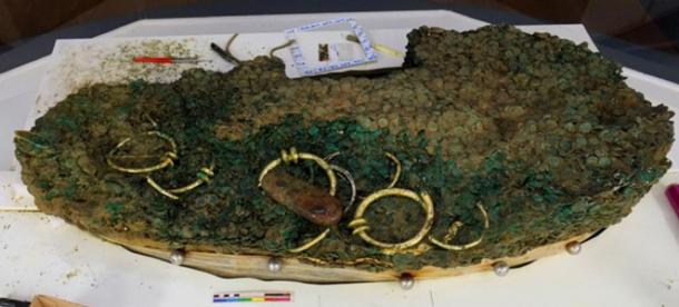 Celtic coin hoard excavated showing the sheer size of the find. (Jersey Heritage)