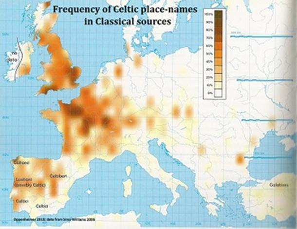 Map showing where the Celts frequently traveled.