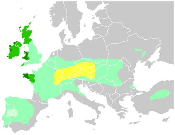 The Celts in Europe: Yellow area is the Hallstatt territory by 6th century BC; light green is maximum Celtic expansion by 275 BC; dark green shows areas where Celtic languages are still spoken