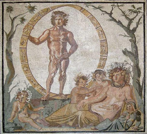 Central part of a large floor mosaic, from a Roman villa in Sentinum (now known as Sassoferrato, in Marche, Italy), ca. 200–250 AD. Aion, the god of eternity, is standing inside a celestial sphere decorated with zodiac signs, in between a green tree and a bare tree (summer and winter, respectively). Sitting in front of him is the mother-earth goddess, Tellus (the Roman counterpart of Gaia) with her four children, who possibly represent the four seasons. (Public Domain)