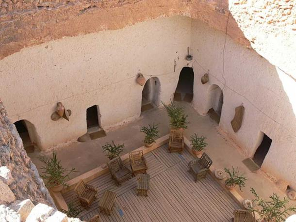 Central 'pit' area of Troglodyte building in Gharyan, Libya.