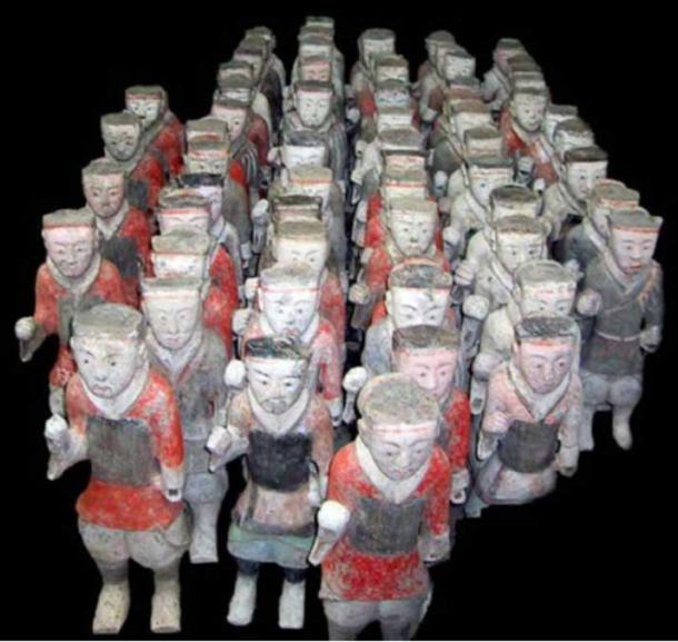 Ceramic figurines of Western Han infantrymen.