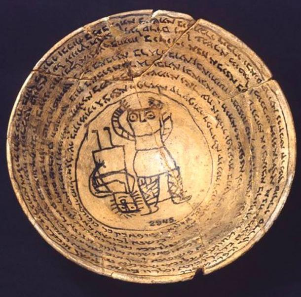 Ceramic incantation bowl from the Sasanian Period, 6-7th century AD.