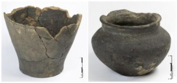 Ceramic pots found at the Iron Age warrior grave excavation site. (UCL / ASE)
