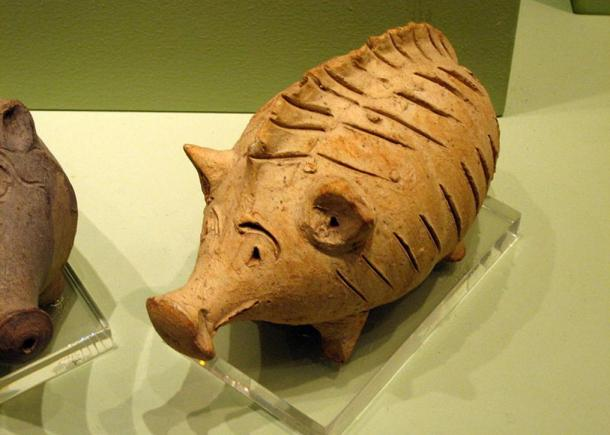 Ancient toy: Ceramic rattle in the shape of a pig, Cypro-Archaic II period (600-480BC).