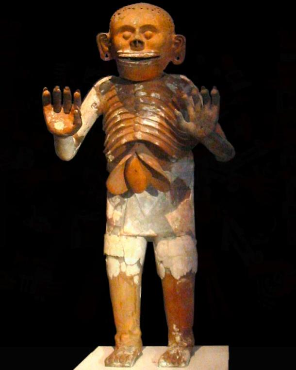 Ceramic representation of Mictlantecuhtli recovered during excavations of the House of Eagles in the Templo Mayor, now on display at the museum of the Templo Mayor in Mexico City