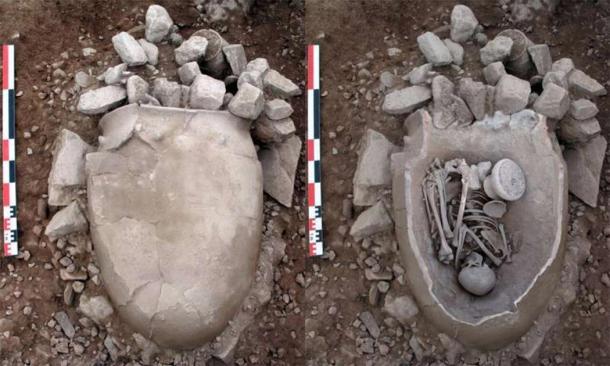 Ceramic vessel to store grain used in the burial of an adult woman. Tomb 21 of El Argar's La Bastida. (ASOME /  UAB)